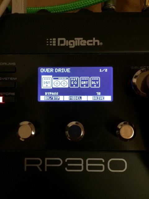 Digitech RP360を本体でいじる場合。