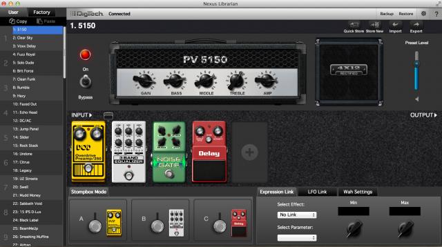 Digitech RP360のライブラリアンソフト。
