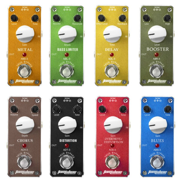8-ピース-アロマミニ-エレキ-ギター-エフェクト-ペダル-歪み低音リミッタ-ブースター-コーラス遅延ブルース-オーバードライブディストーション金属-